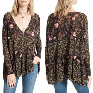 Free People Isabelle Floral Sheer V-Neck Tunic Top